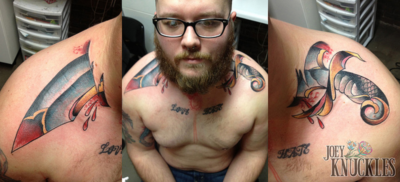 Dagger through the neck tattoo design