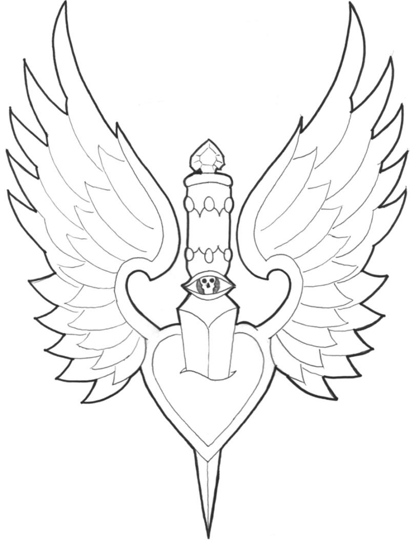 Dagger thru winged heart tattoo sample