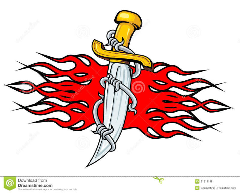 Dagger with red flames tattoo design