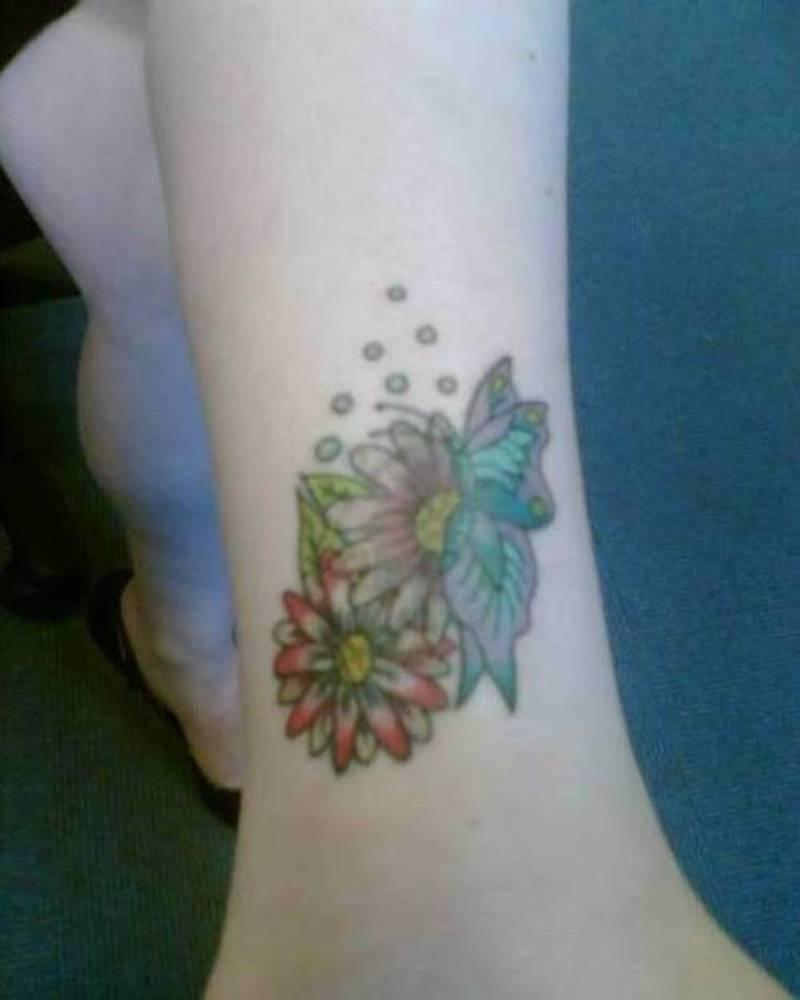 Daisy Flowers N Butterfly Tattoo Design Tattoos Book 65 000
