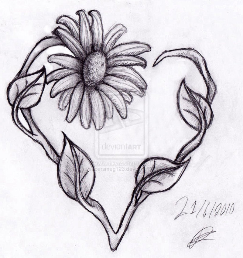 Daisy heart tattoo drawing
