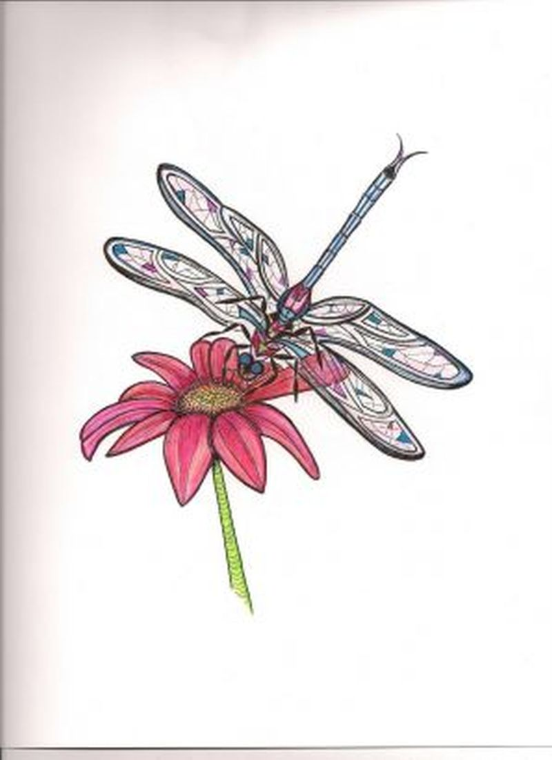 Daisy with dragonfly tattoo design