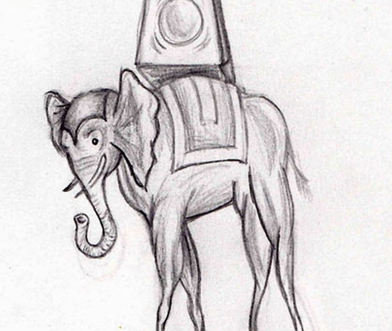 Dali elephant tattoo drawing