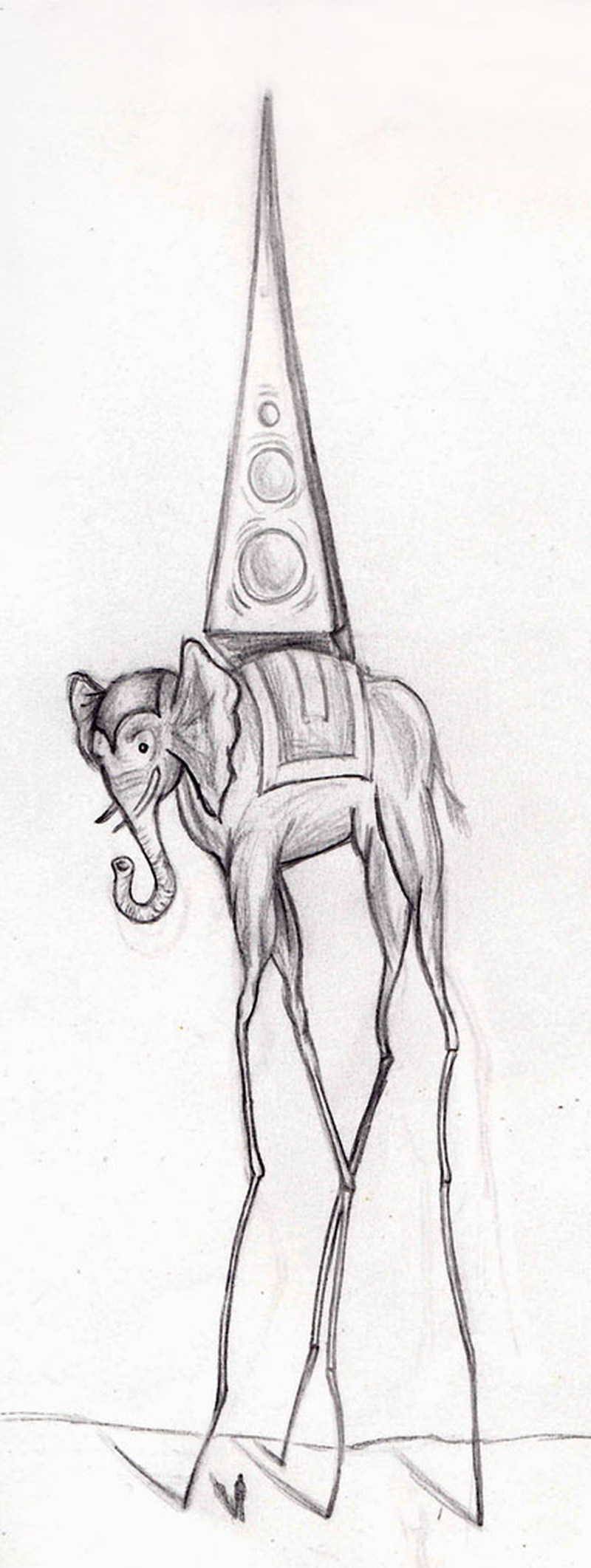 Dali elephant tattoo drawing
