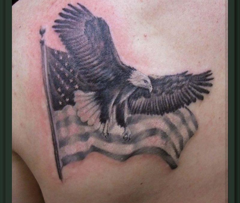 Dan eagle n flag tattoo design