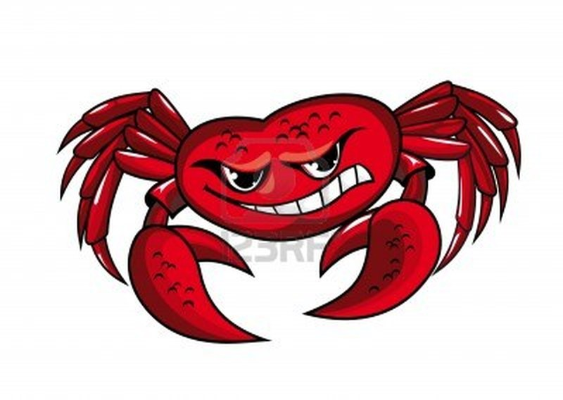 Danger crab with claws for mascot or sailor design tattoo