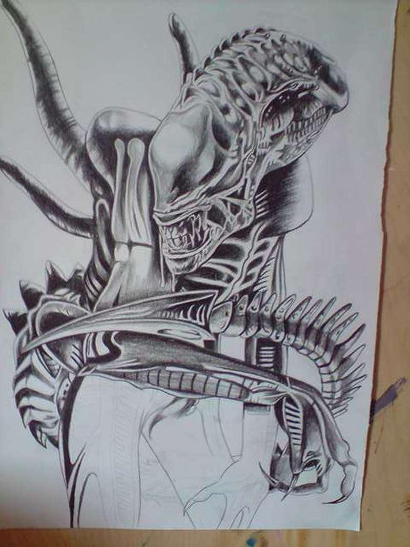 Dangerous alien sketch tattoo