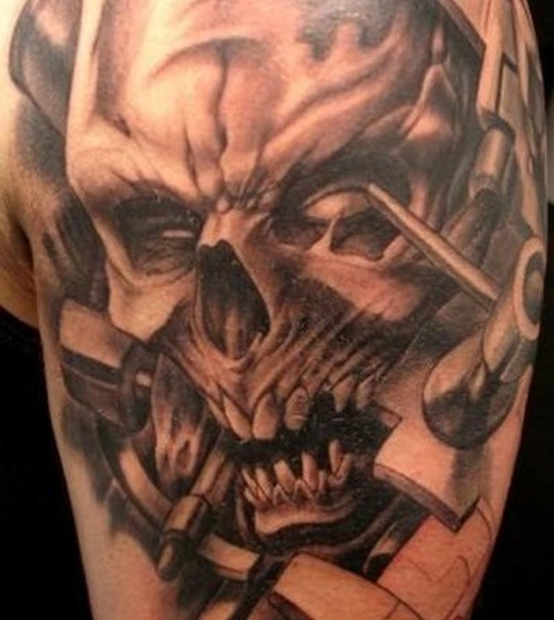 Dangerous biomechanical skull tattoo design