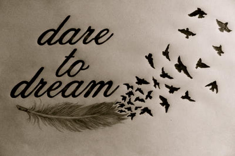 Dare to dream feather birds tattoo design