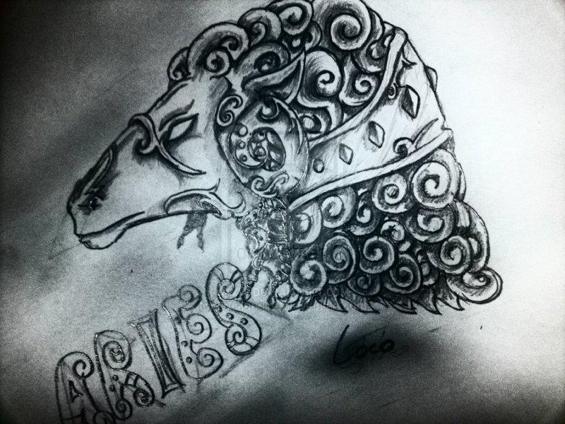 Dark aries head tattoo design