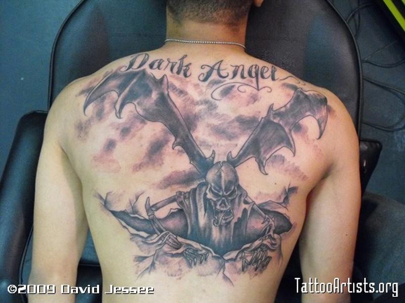 Dark evil angel tattoo design
