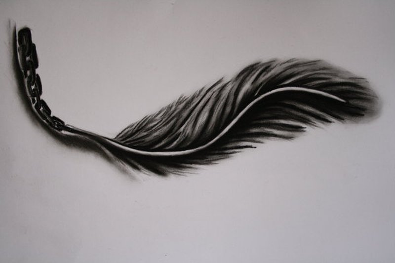Dark feather tattoo design