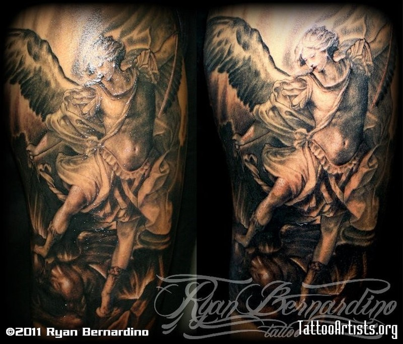 Dark flying angel tattoo design