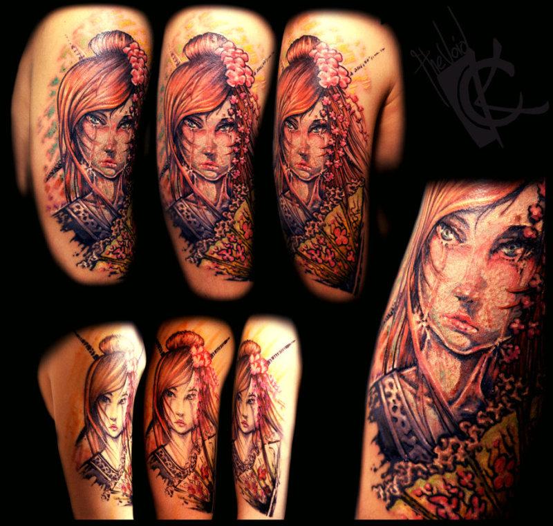 Dark geisha girl tattoo designs