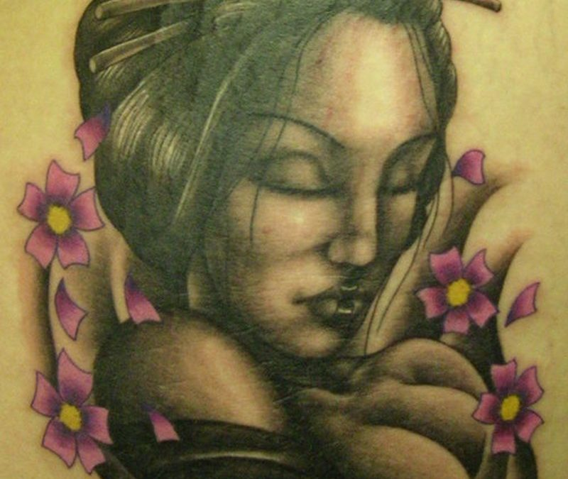 Dark geisha tattoo design