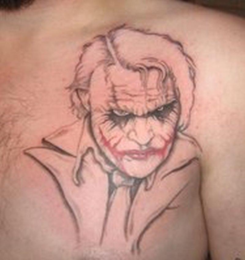 Dark Knight Joker Tattoo On Chest Tattoos Book 65 000