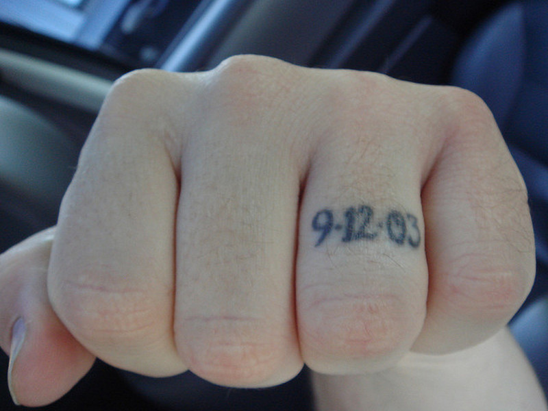 Date tattoo on ring finger