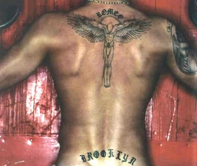 David beckham angel tattoo on back