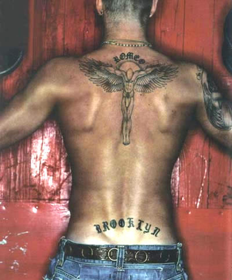 David beckham angel tattoo on back
