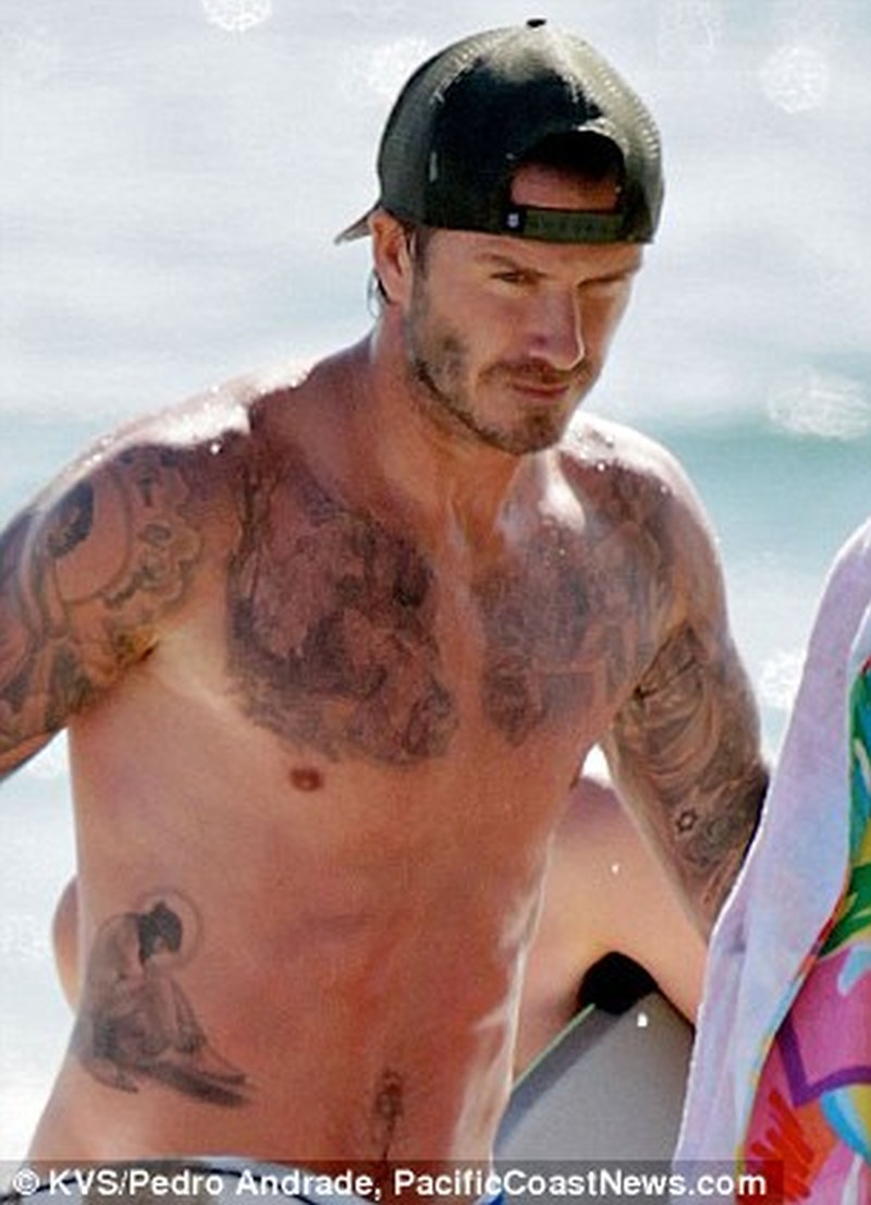 David beckham new chest tattoo design