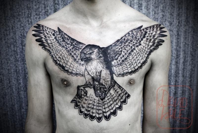 David hale eagle tattoo on chest