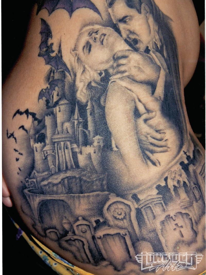 David sanchez horror tattoo on ribs