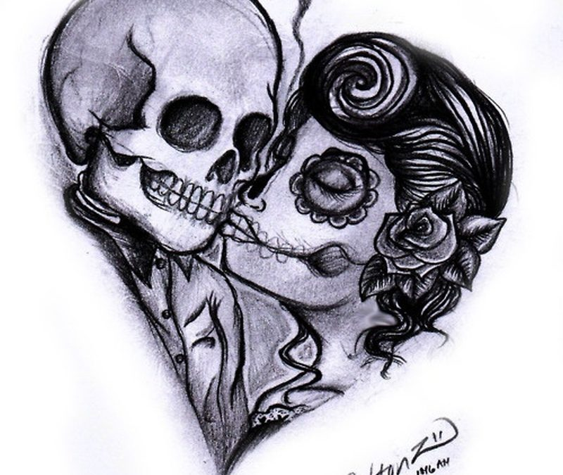 Day of the dead couple tattoo design