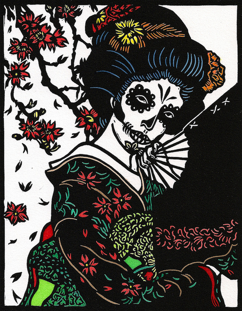 Day of the dead geisha tattoo design 2