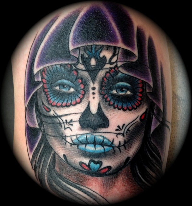 Day of the dead girl tattoo design 4