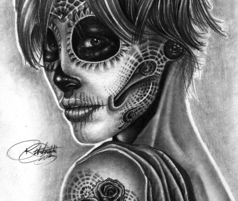 Day of the dead girl tattoo design 8