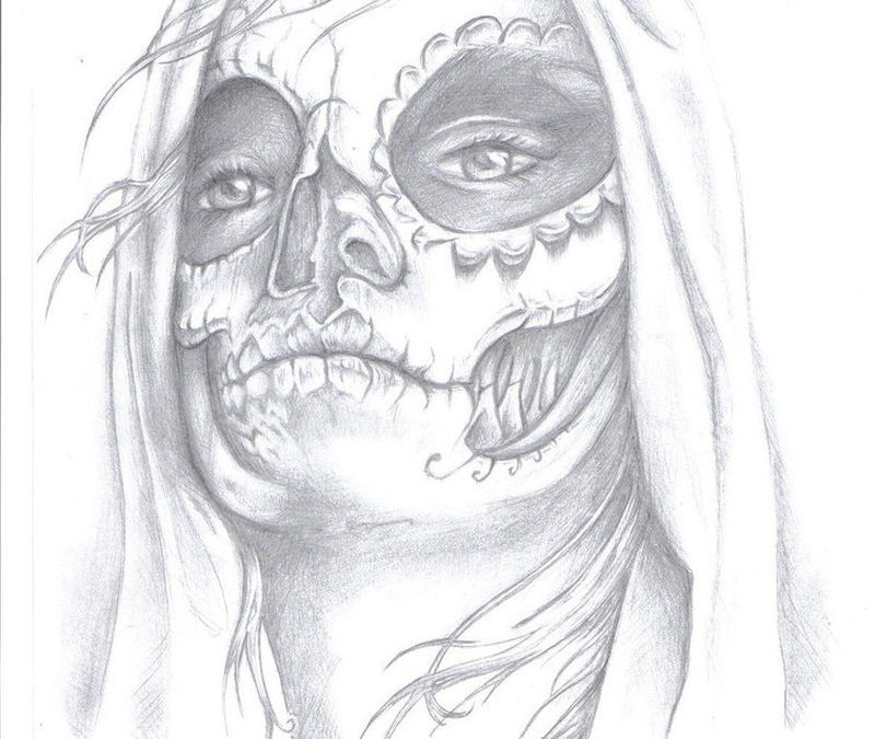 Day of the dead gypsy pencil art tattoo