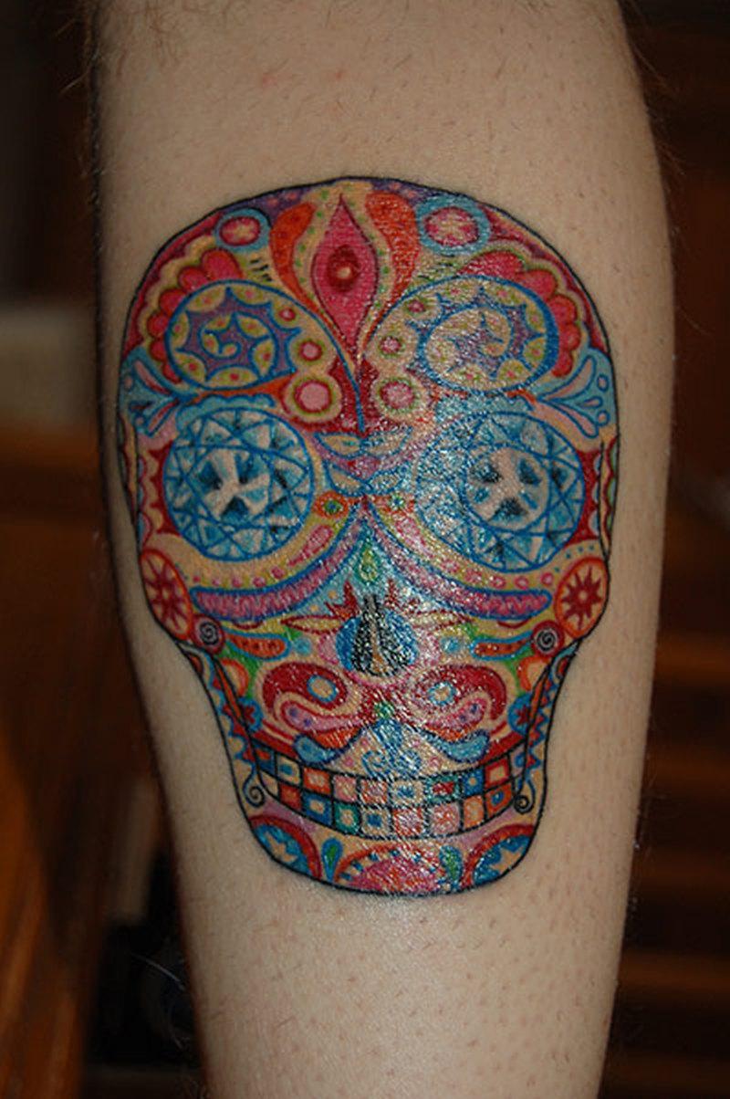 ef5b7f3db35d5 Day of the dead skull colorful tattoo - Tattoos Book - 65.000 ...