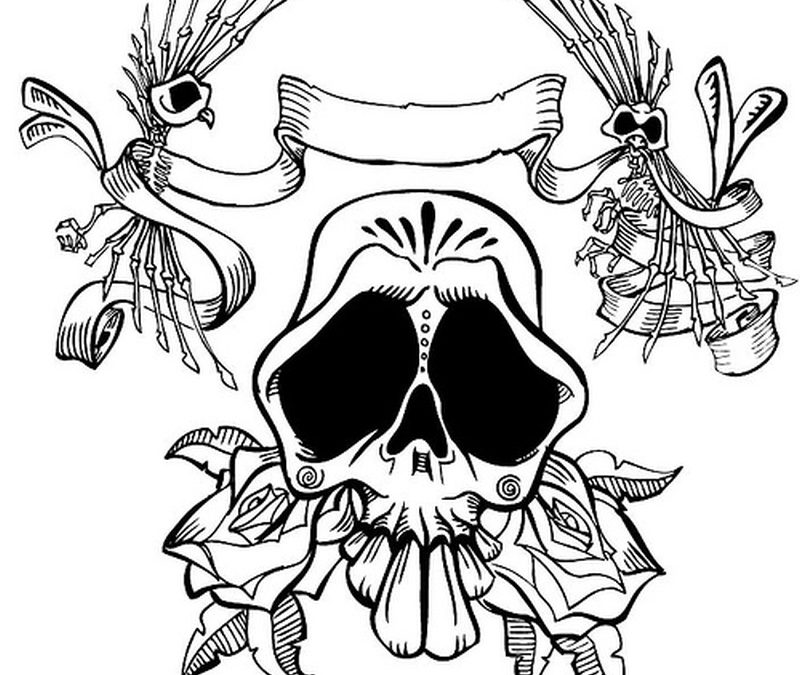 Day of the dead skull tattoo design