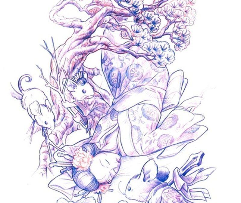 Dead geisha tattoo sketch