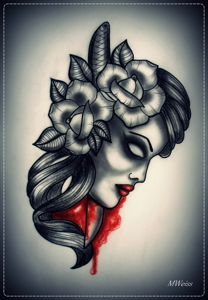 dead head with dagger tattoo design 2 tattoos book tattoos designs. Black Bedroom Furniture Sets. Home Design Ideas