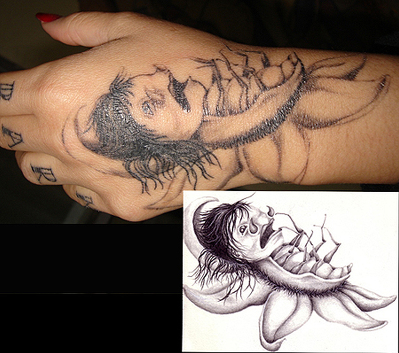 Dead insect hand tattoo