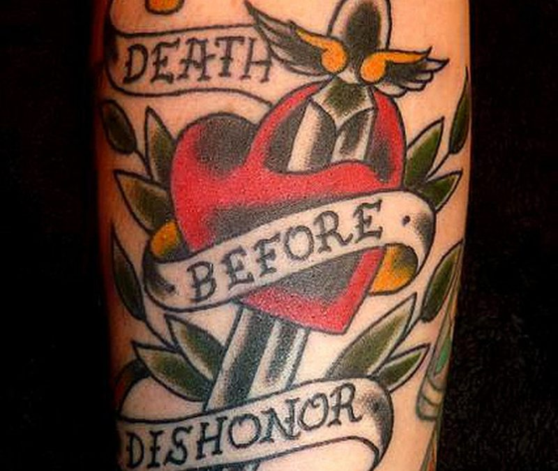 Death before dishonor heart dagger tattoo design