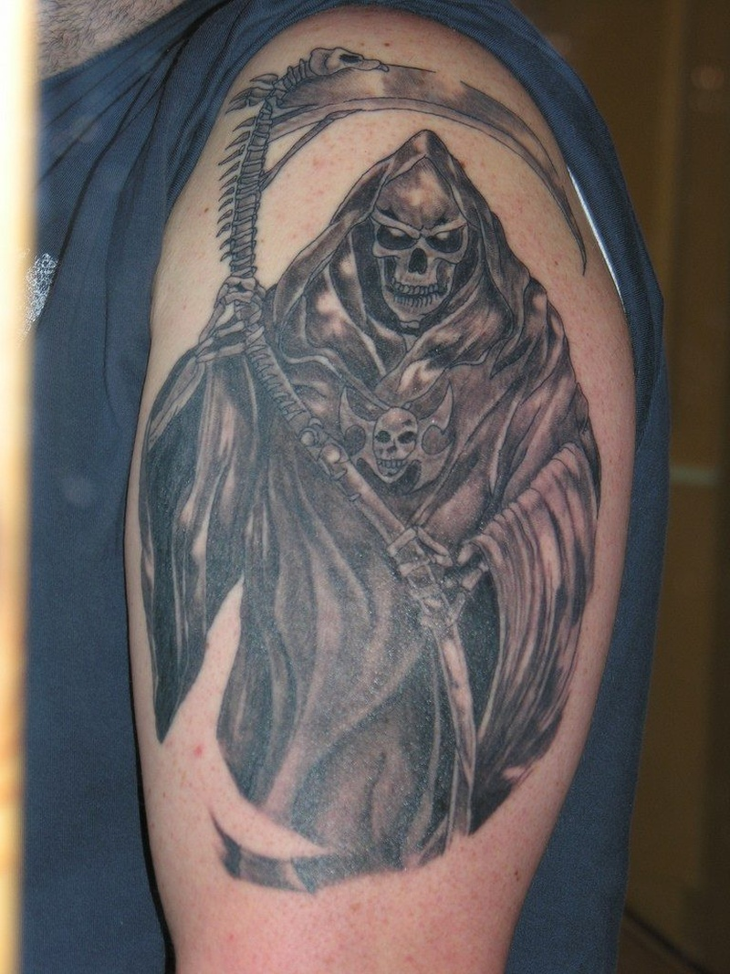 Death grim reaper tattoo on shoulder 2