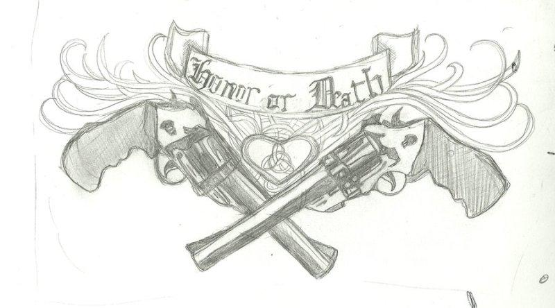 Death gun tattoo drawing