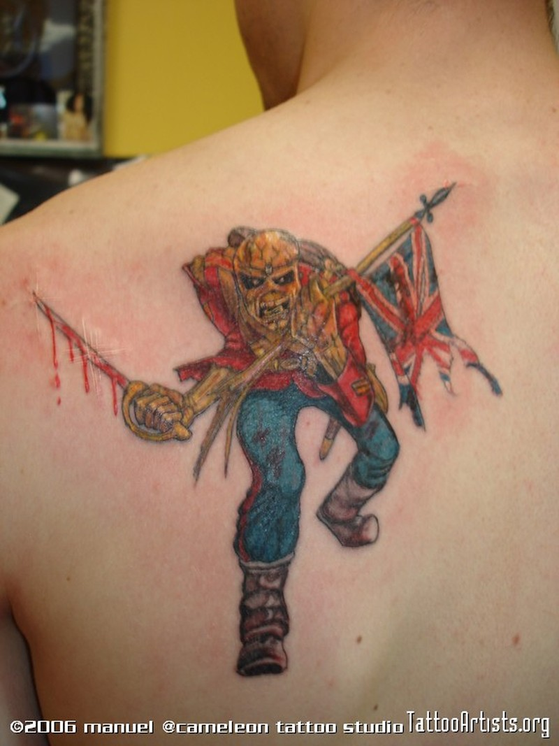 Death guy with flag tattoo design