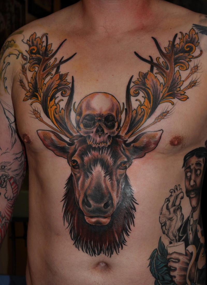Death Skull N Deer Head Tattoo On Chest Tattoos Book