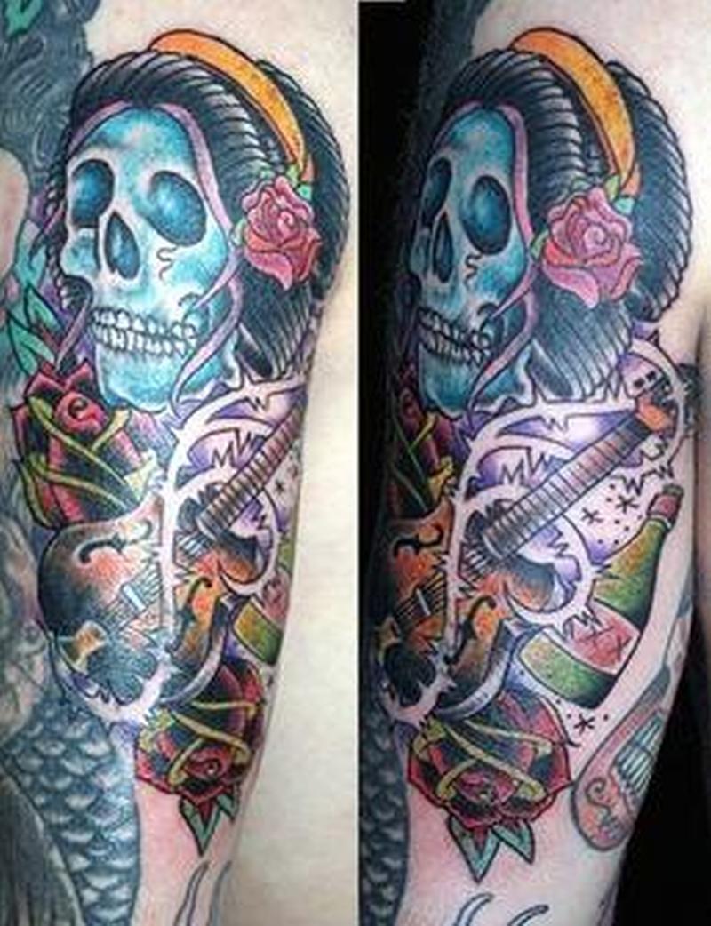 Death skull n guitar tattoo design