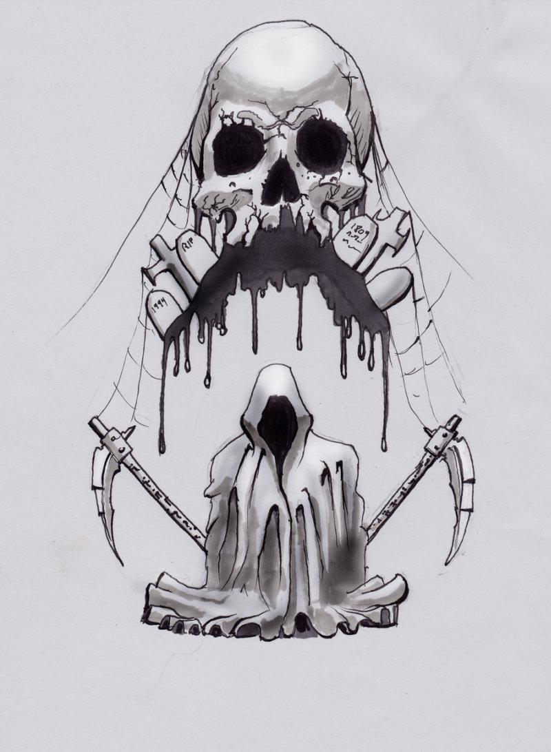 Death skull tattoo design 3