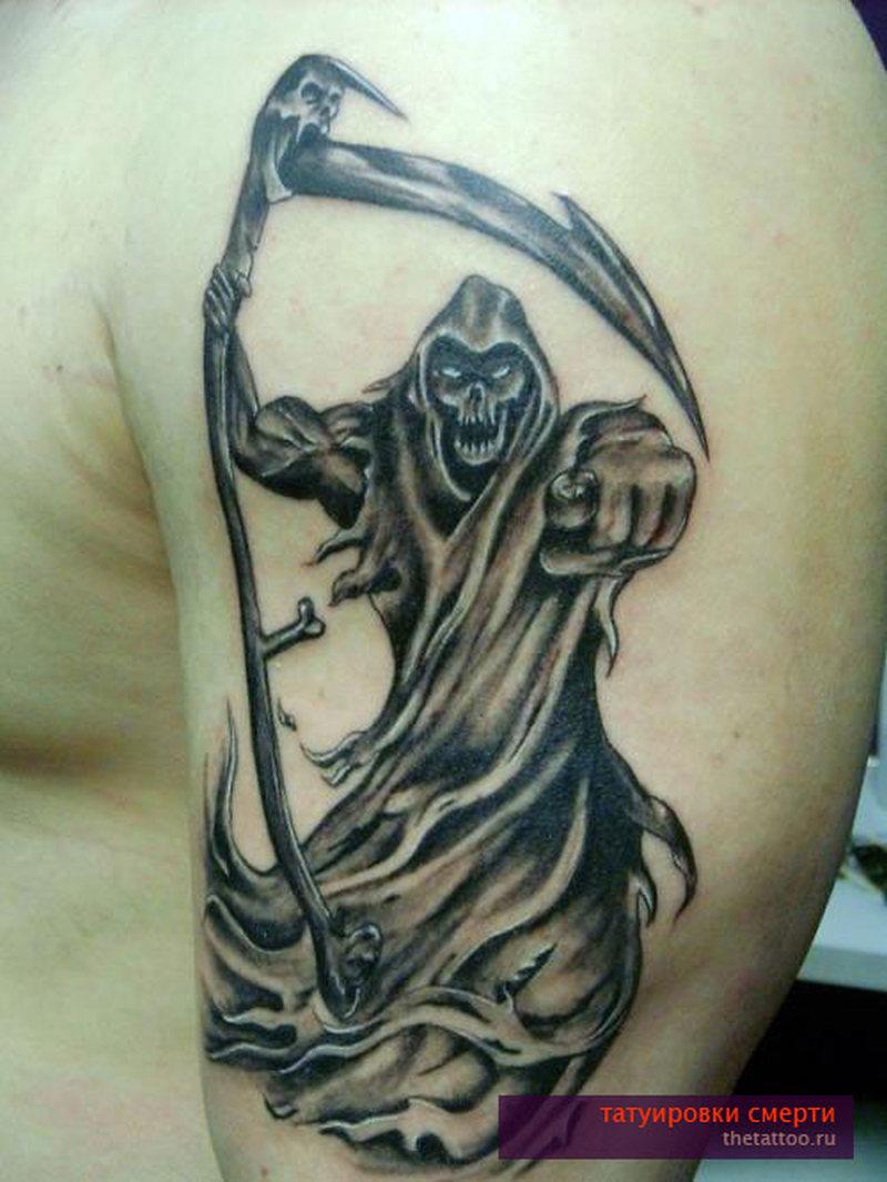 Death tattoo on biceps