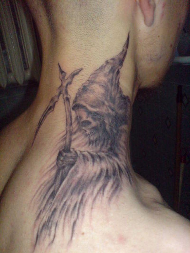 Death tattoo on neck