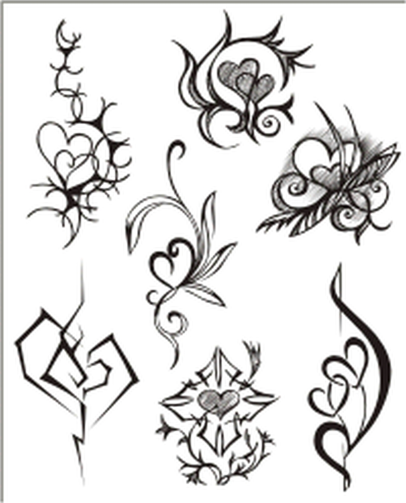 Decorations heart tattoo designs
