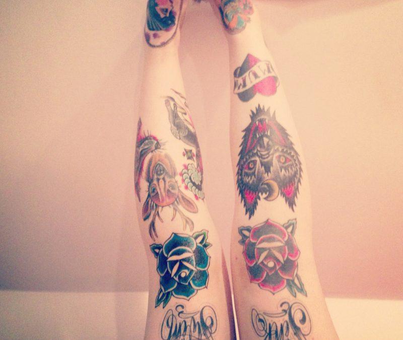 Deer n panther head tattoo designs on knee