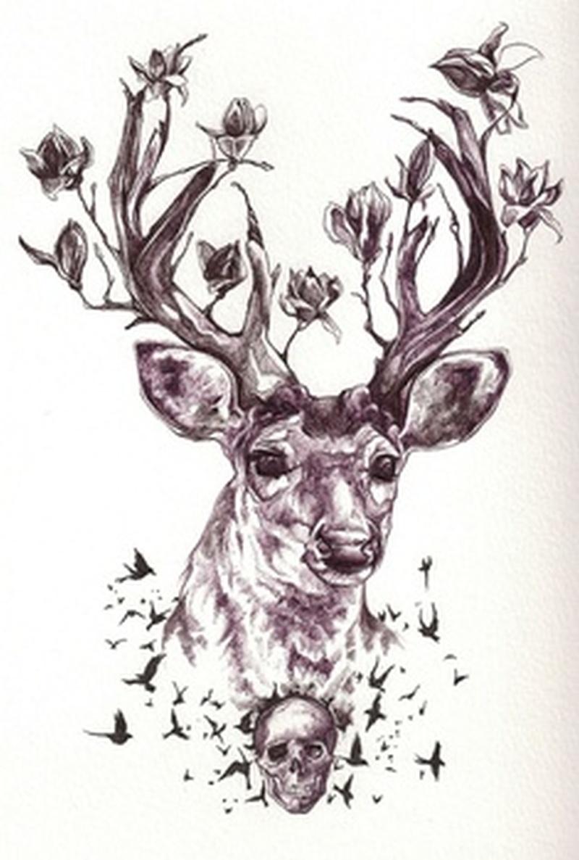 Deer n skull tattoo sample