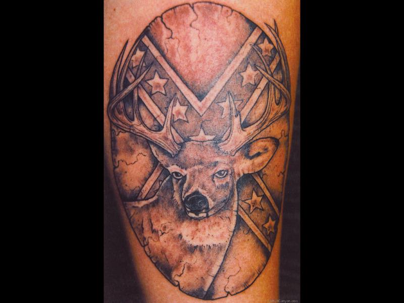 Deer rebel flag tattoo design