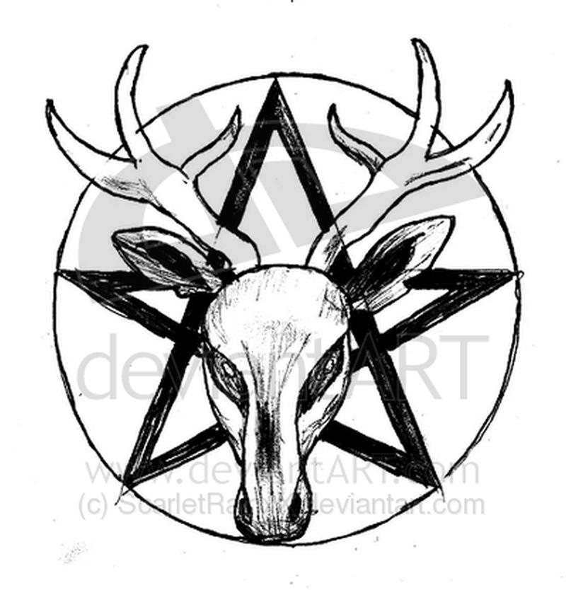 Deer skull tattoo design